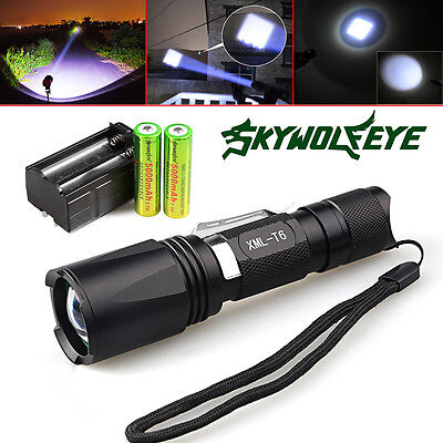Tactical Police 10000lm 5-Modes T6 Cree LED Flashlight Torch Battery&Charger USA