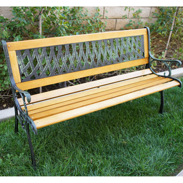 Outdoor Patio Garden Hardwood Slats Bench Furniture Cast Iron Frame Park  Chair