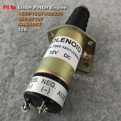 Fuel Shut Off Stop Solenoid Valve 1502-12c7u2b2s1 12v For Lister Petter Engine
