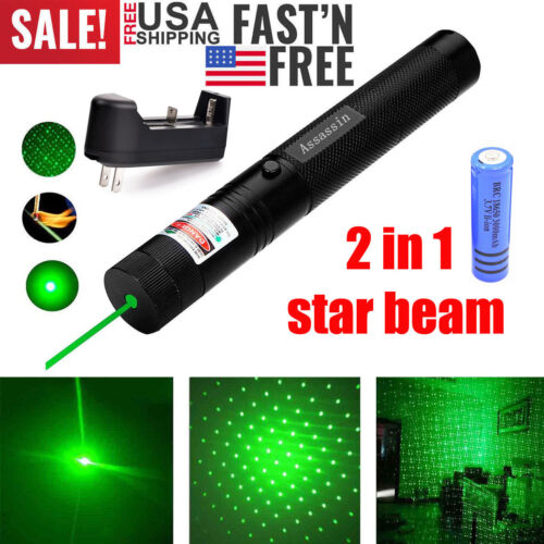 60Miles 532nm 303 Green Laser Pointer Lazer Pen Visible Beam Torch+18650+Charger