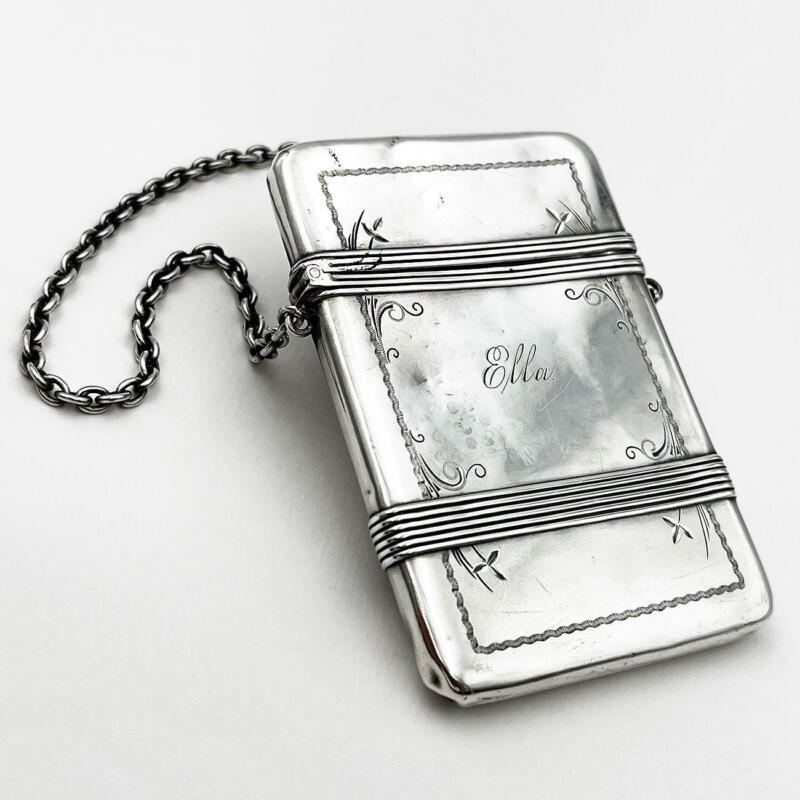 AMERICAN STERLING SILVER CALLING CARD CASE c1890 Whiting Manufacturing