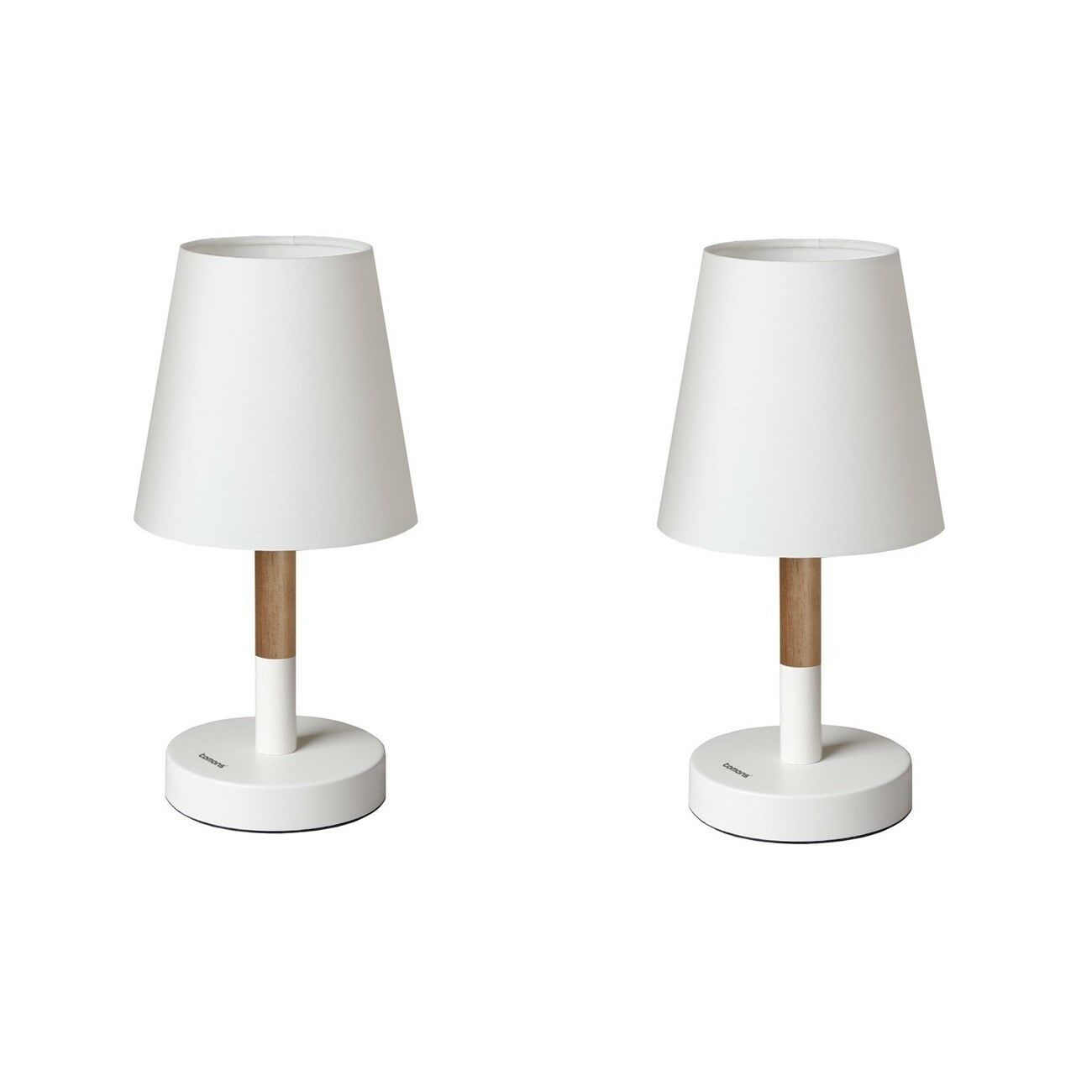 set of 2 modern wood bedside lamp