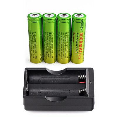 4PCS 5000mAh SKYWOLFEYE Li-ion 3.7V Rechargeable 18650 Battery + 1x Charger USA