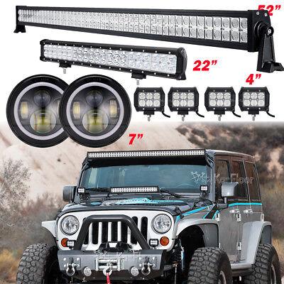 "52"" 700W +20"" 294W+4X18W LED Light Bar +7"" Halo Headlights Fit Jeep Wrangler JK"