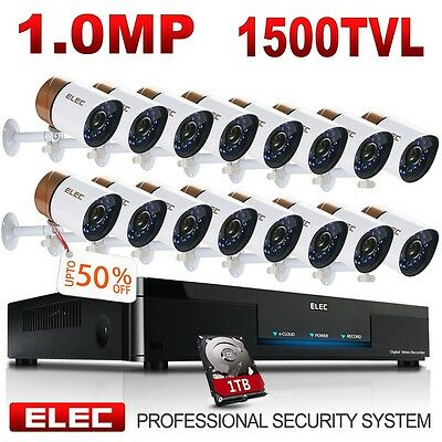 ELEC 16CH 1500TVL HDMI CCTV DVR IR-CUT Outdoor Home Security Camera System 1TB