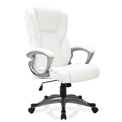 Ergonomic Office Chair Pu Leather High Back Executive Computer Desk Task White