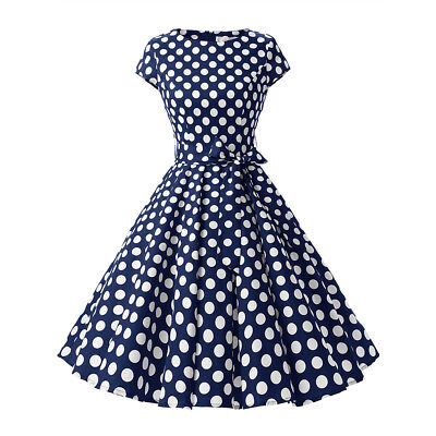 Women's 1950s Vintage Polka Dot Party Prom Cap Sleeve Swing Dress with Belt - Polka Dot Party