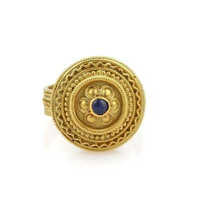 Vintage Sapphire 22k Yellow Gold Fancy Floral Round Shape Ring Size - 7.5 22k Gold Fancy Ring