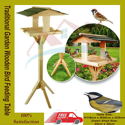 Traditional wooden bird table garden birds feeder feeding station free standing*