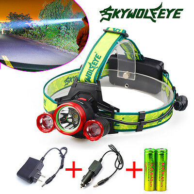 30000 Lumens Headlamp CREE XML 3 x T6 LED Headlight 18650 + Charger + Batteries