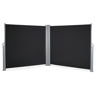 Retractable Double Privacy Cubical Walls Waterproof Side Awning Dividers, Black