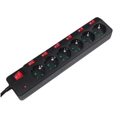 6 Fach Steckdosenleiste Überspannungsschutz Mehrfach Steckdose einzeln schaltbar