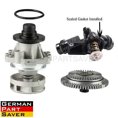 TOPAZ Water Pump + Fan Clutch + Thermostat Assembly for BMW E46 E39 E38