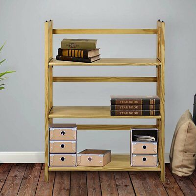 - Folding 3 Tier Wood Book Case Shelf Stackable Storage Living Room Mission Style