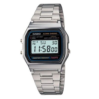 CASIO A158WA-1DF,Uhr,Silber,Illuminator,digital retro vintage,Casio Collection