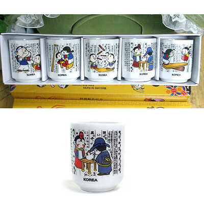 Korean Folk SOJU Shot Glass 5Pcs Set Korea traditional Whiskey Folk Painting Cup
