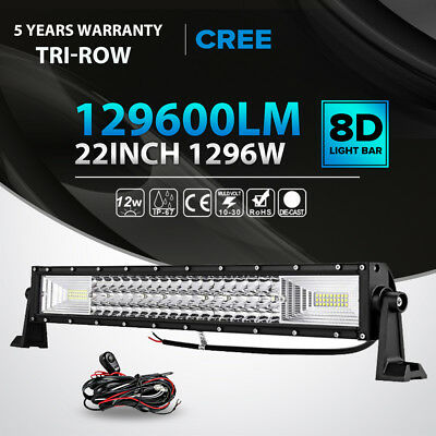 Cree led light barebay 1 tri row 22inch 1296w led light bar combo offroad driving fog lamp pk 2324 mozeypictures Gallery