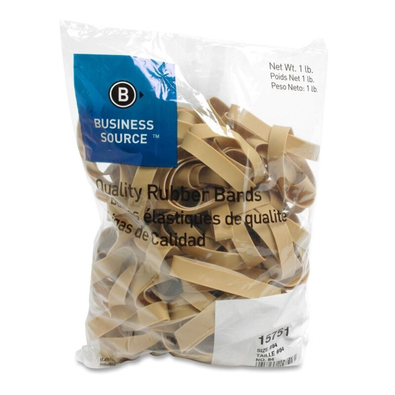 Business Source 15751 Rubber Bands, Size 84, 1 lb Bag, 3.5 x .5 inches