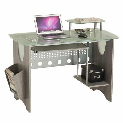 Modern Glass Top Computer Desk Pullout Keyboard Magazine Rack In Grey Finish