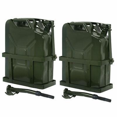2pcs 5 Gallon 20l Jerry Can Gas Fuel Steel Tank W Holder Emergency Backup