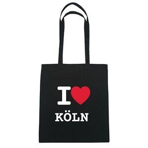 I love KÖLN  - Jutebeutel Tasche Beutel Hipster Bag - Farbe: schwarz