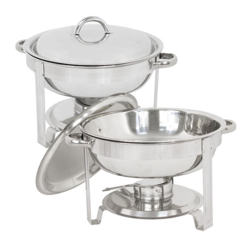 5 Quart Stainless Steel Lot 2 Round Chafing Dish Full Size Buffet Catering Business & Industrial