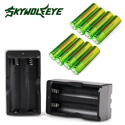 8x 3.7V 5000mAh Li-ion Rechargeable 18650 Battery +2x Charger For LED Torch USA