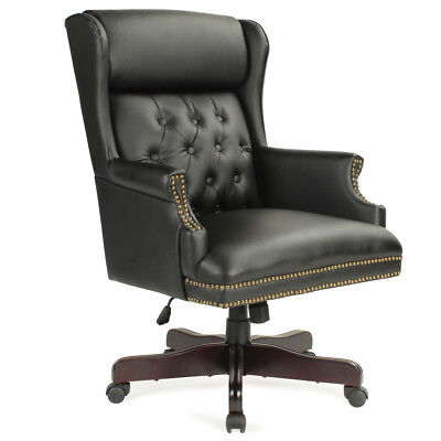 Executive Wingback Traditional Office Chair Button Tufted Style Wood Base Black