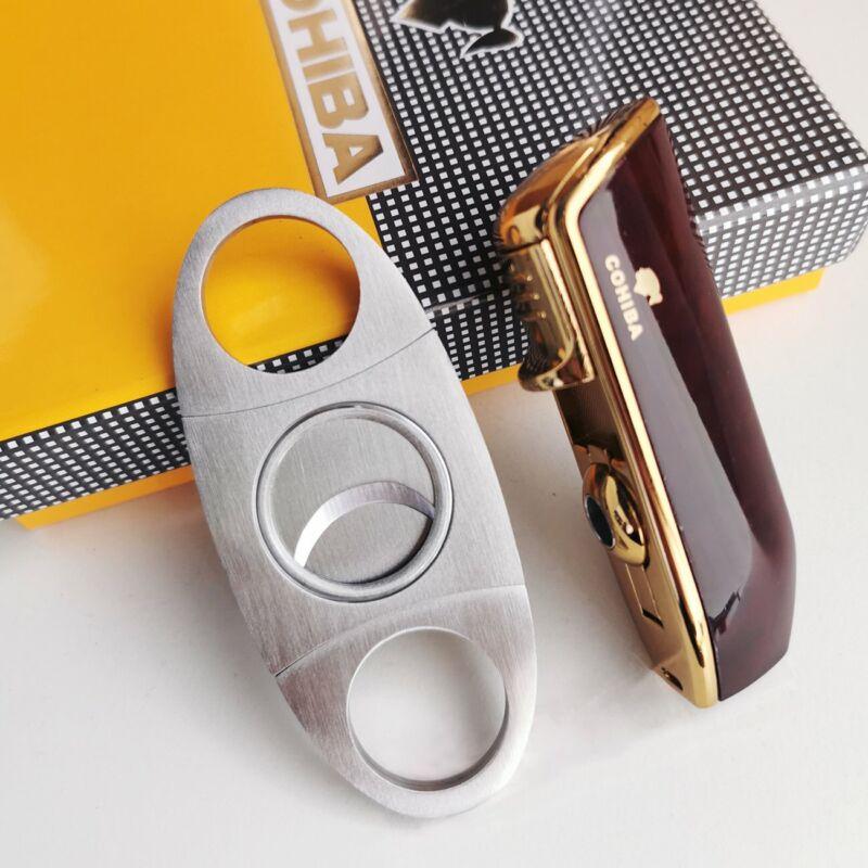 Cigar Cutter and Torch Lighter Set Cigar Punch Lighter Triple Jet Flame Butane