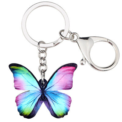 Acrylic Colorful Butterfly Keychain Key Ring Charm Jewelry For Women Wallet Gift