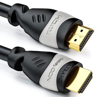 deleyCON 2m HDMI Kabel 4K UHD 2160p 3D FULL HD 1080p HDR ARC HDMI 2.0 TV Beamer