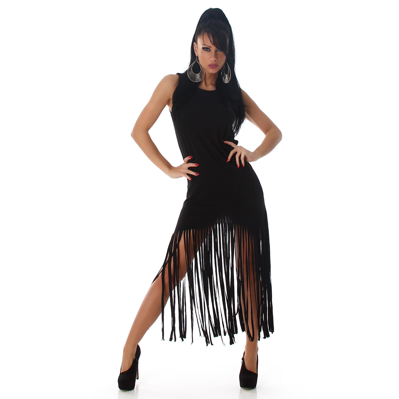 40399f05c0e786 Sexy Ärmelloses Minikleid Basic Kleid Strandkleid mit Fransen ...