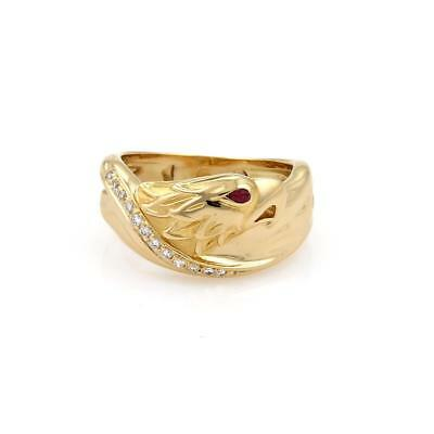 Carrera y Carrera Diamond Ruby 18k Yellow Gold Wide Band Ring Size 6
