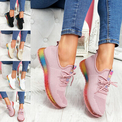 WOMENS LADIES RAINBOW CHUNKY HEEL MESH SPORT TRAINERS SNEAKERS WOMEN SHOES SIZE