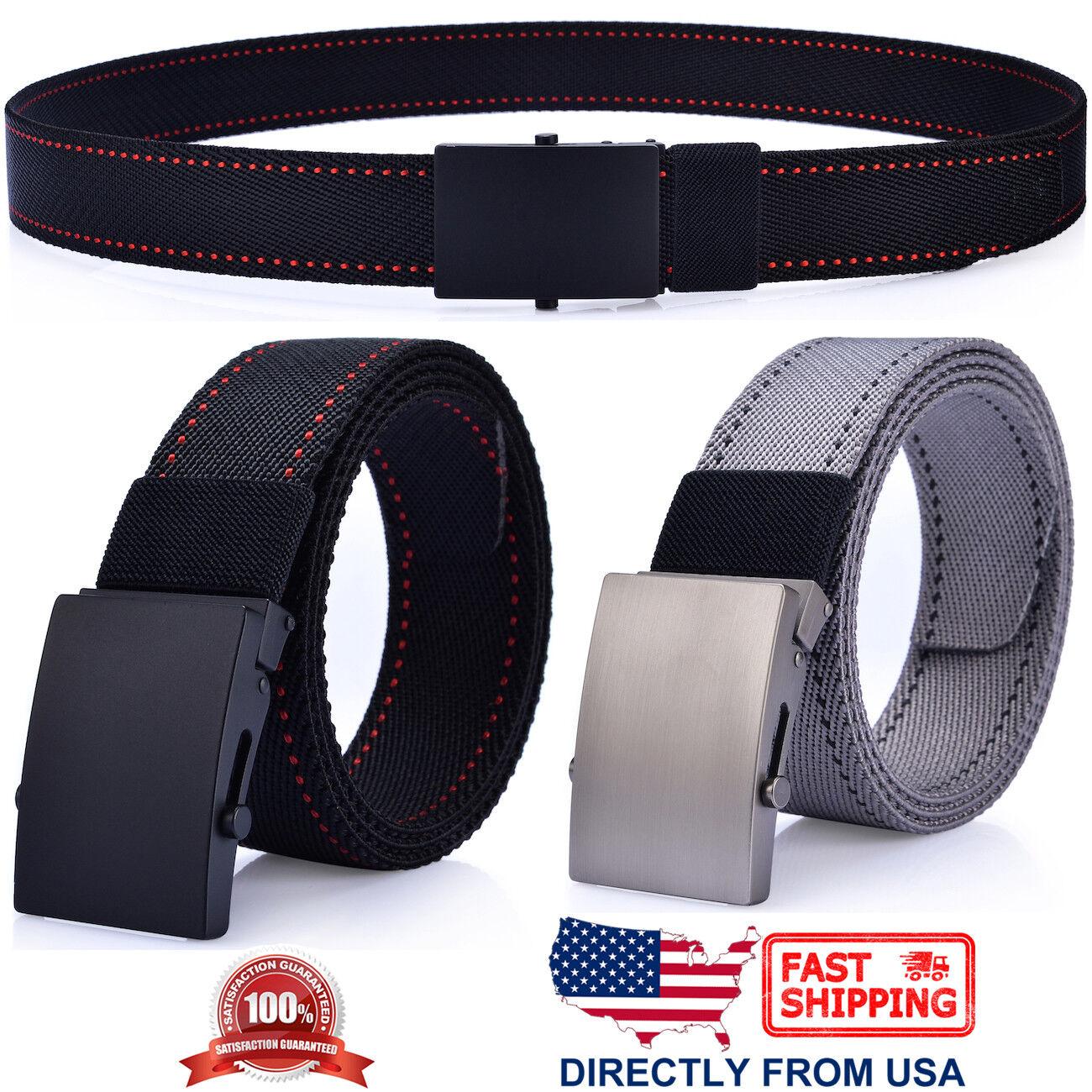 Men's Casual Dress Belt, Nylon Webbed Belt, Metal Buckle Belts