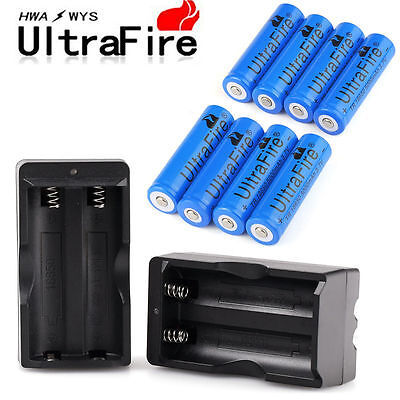 8X Ultrafire 5000mAh Li-ion 3.7V Rechargeable 18650 Battery + 2X Dual Charger US