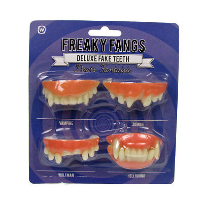 Fake Teeth Fancy Dress Freaky Fangs Vampire Zombie Wolfman Hellhound (Hell Hound Halloween)