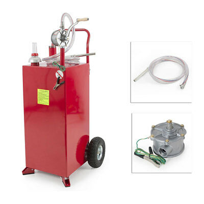 Pro 30 Gallon Gas Fuel Diesel Caddy Transfer Tank Container w/ Rotary Pump Auto