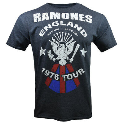 Mens Ramones Vintage Look England 1976 Tour Tribute Band T Shirt, Charcoal Gray