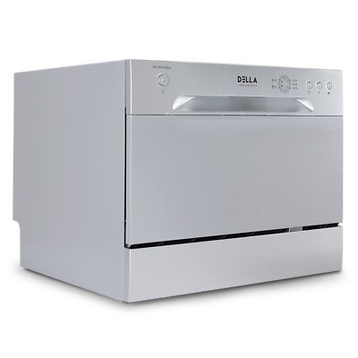 6 OK Settings Countertop Portable Compact Stainless Steel Dishwasher, Silver