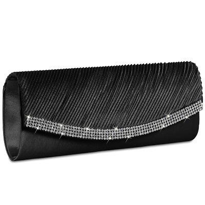 Damen-satin-clutch (CASPAR TA291 Damen Satin Clutch Tasche Abendtasche Umhängetasche Strass Kristall)