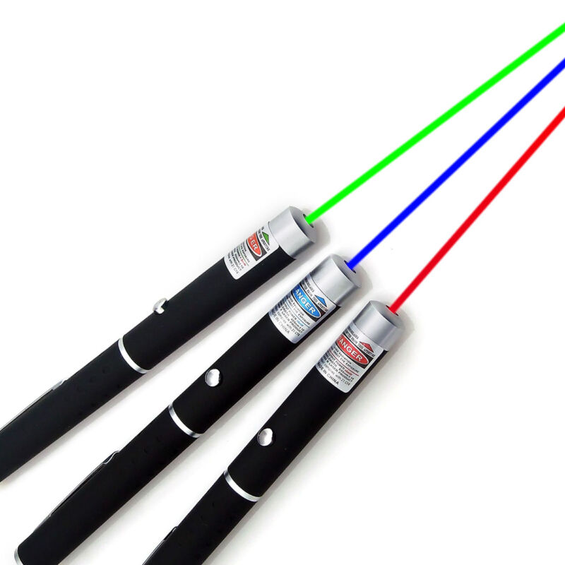 1mw High Power 3PCS Red+Green+Blue Purple Laser Pointer Pen Beam Light Lazer USA