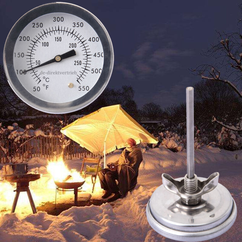 Stainless Steel Barbecue BBQ Smoker Grill Thermometer Temper