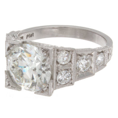 3.50ct GIA Certified Old European Platinum Antique Diamond Engagement Ring 1
