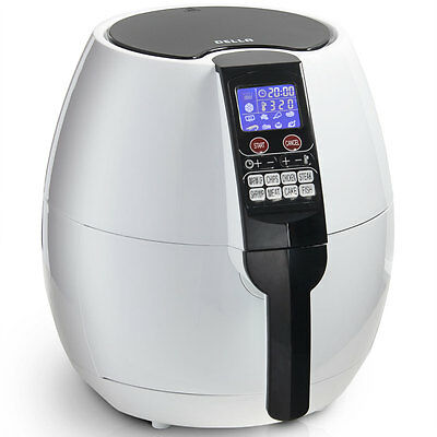 8-in-1 Electric 1500W Air Fryer LCD Digital Cooking Settings Menu 3.2QT -White