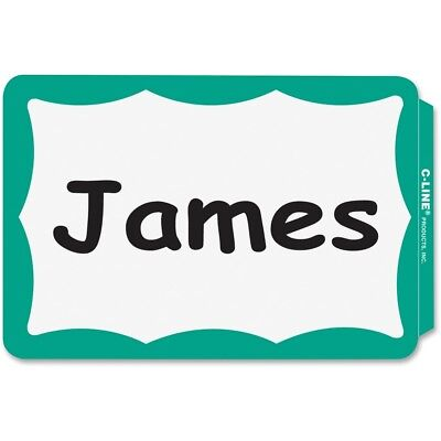 200 - Name Badges - Peel Stick - Green Border Tags Labels Sticker Adhesive Id