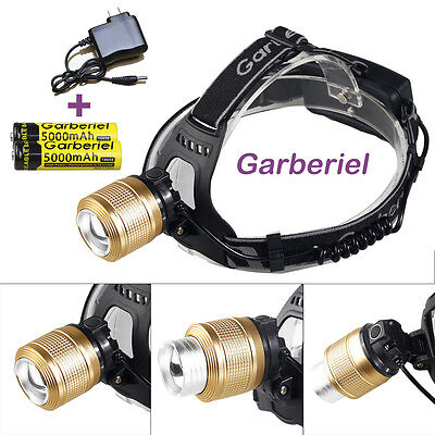 15000LM CREE XM-L T6 LED Headlamp Zoomable HeadLight + 18650 Battery+ Charger US
