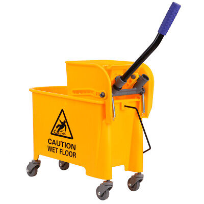20L Commercial Rubber Mop Bucket Side Press Removable Wringer Yellow Commercial Mop Bucket