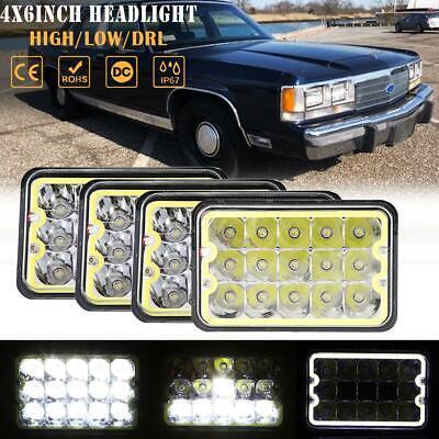 "4x 4x6"" inch LED Headlights Halo DRL Hi-Lo Beam DOT for Ford 1980-1991 LTD 150W"