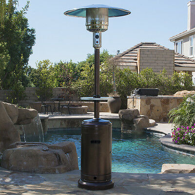 48,000 BTU Outdoor Propane Patio Heater LP Gas with Adjustable Table and Wheel